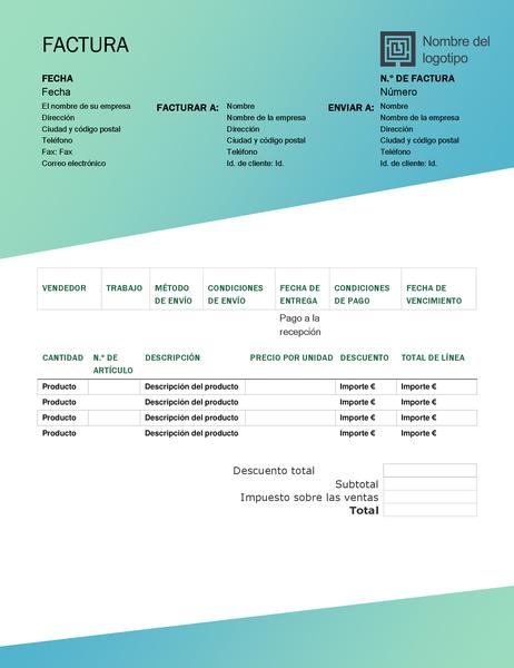 Factura de ventas (diseño de degradado verde)