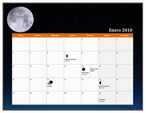 Calendario lunar de 2010 (hora universal)