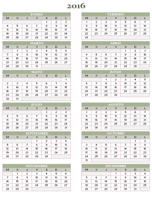 Calendario anual 2016-2025 (de lunes a domingo)