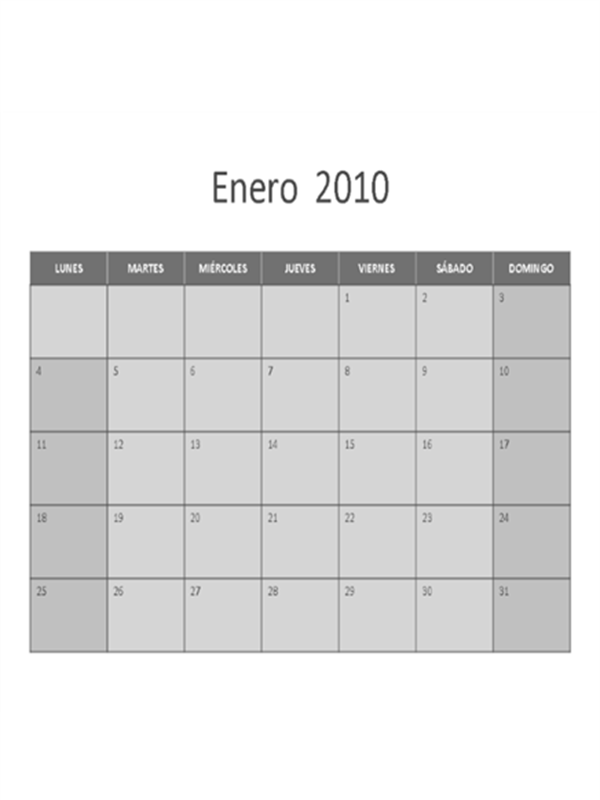 Calendario de 2010 (lunes a domingo)