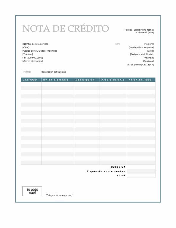 Nota de crédito (diseño con borde azul)