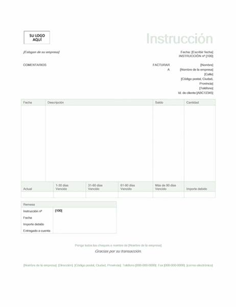 Albarán de factura (diseño verde)