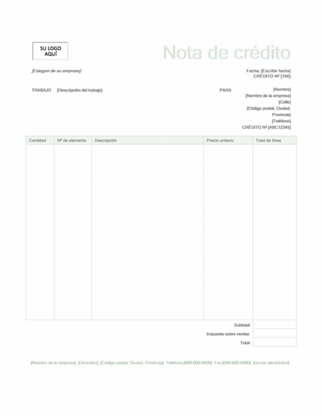Nota de crédito (diseño verde)