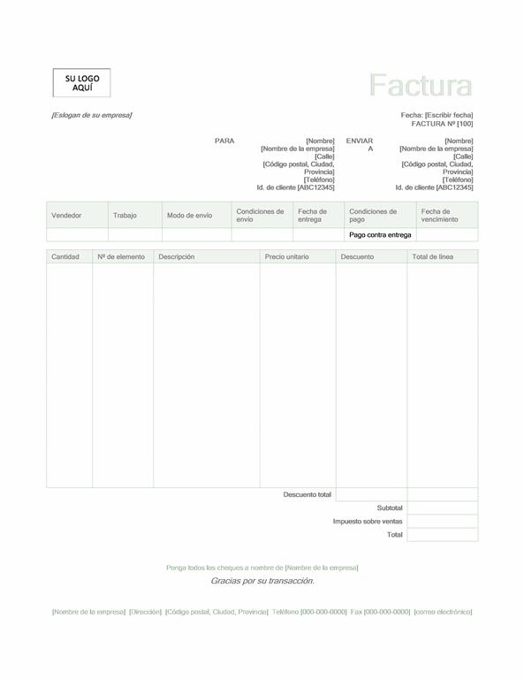 Factura de ventas (diseño verde)