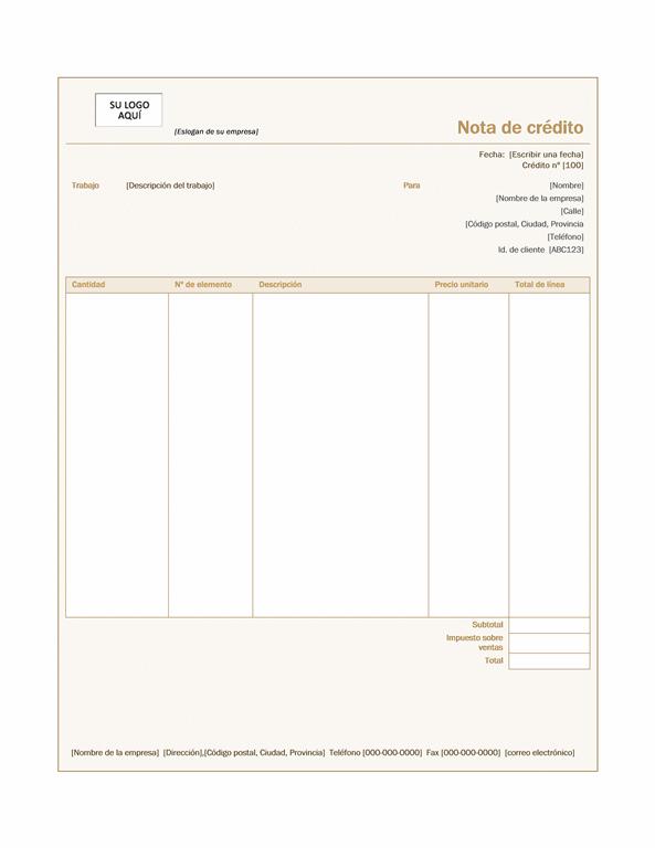 Nota de crédito (diseño Siena)