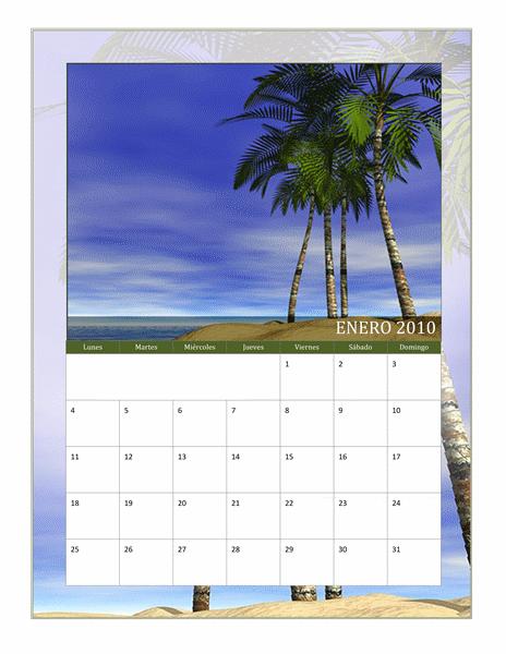 Calendario fotográfico de 2010 (lunes a domingo) (Hemisferio sur)