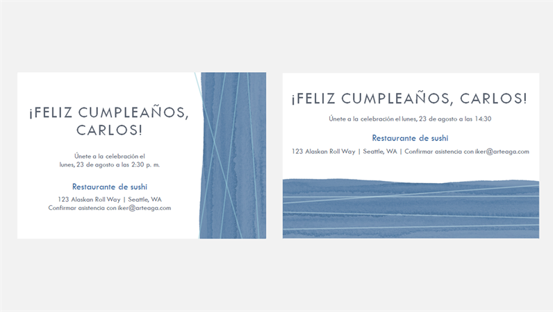 Invitaciones para fiesta con lazo azul (dos por página)