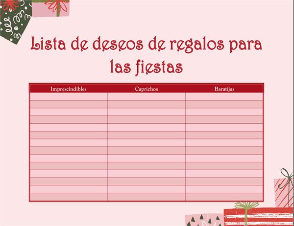 Lista de deseos de Navidad para adultos