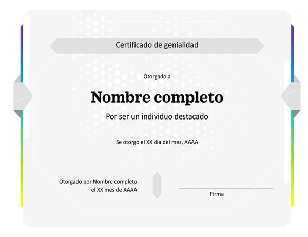 Certificación de maravilla
