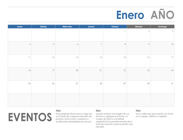 Calendario horizontal (inicio en domingo)