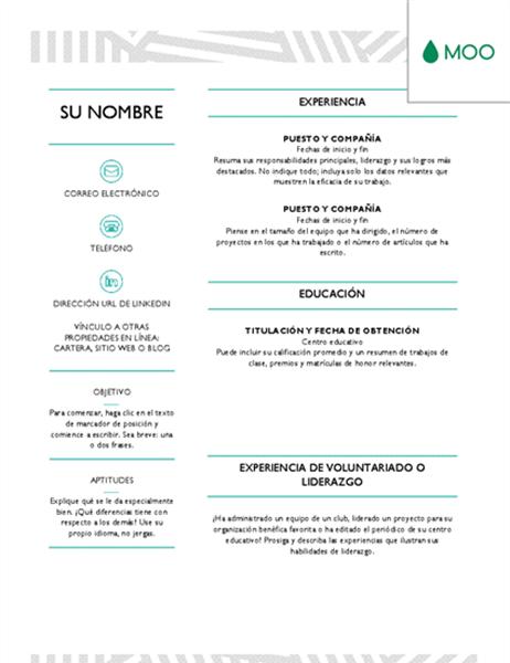Currículum vítae creativo diseñado por MOO