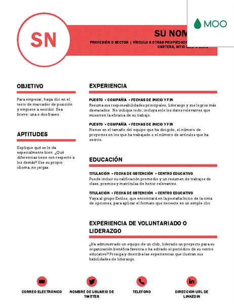 Currículum vítae impecable diseñado por MOO