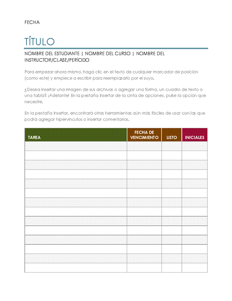 Lista de tareas de proyecto