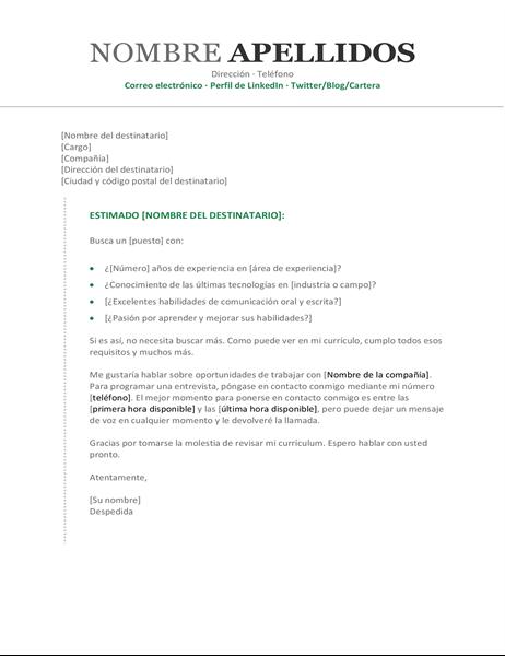 Carta de presentación (cronológico)