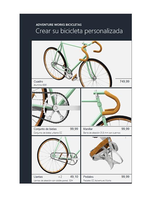 Catálogo de productos de Excel en 3D (modelo de bicicleta)