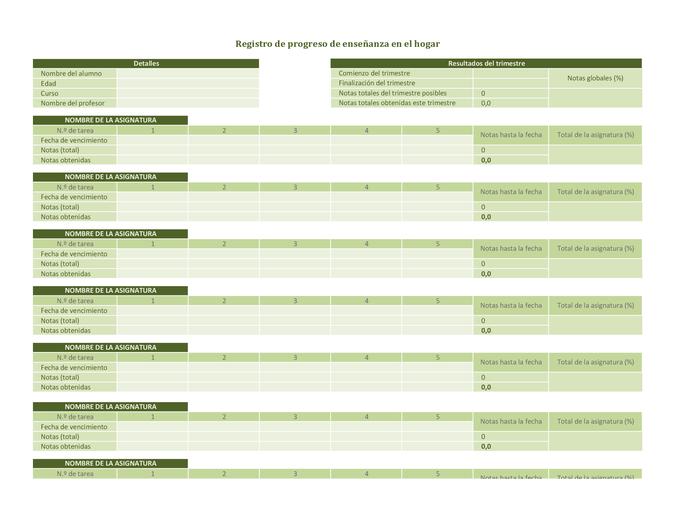 Registro de progreso de enseñanza en el hogar