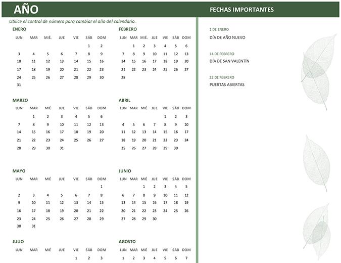 Calendario profesional (cualquier año, dom-sáb)