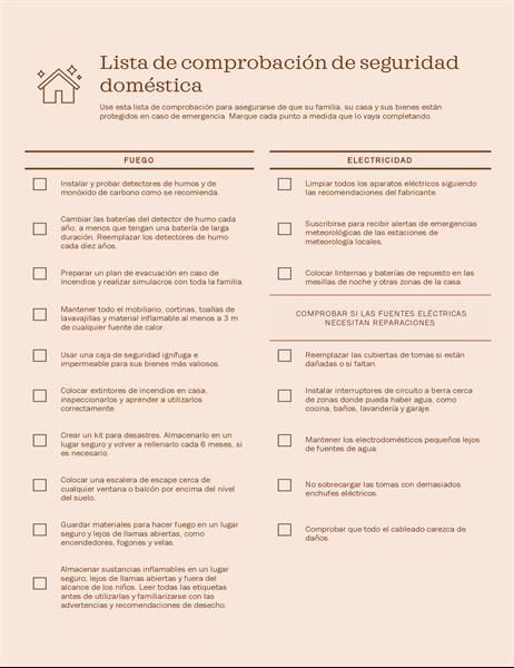 Lista de comprobación de seguridad familiar