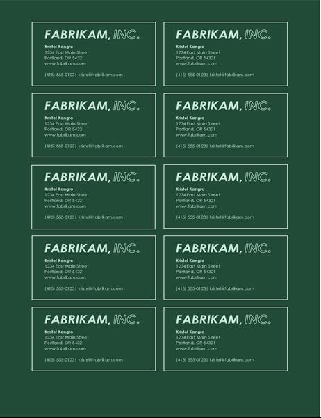 Tarjetas de presentación con logotipo en negrita (10 por página)