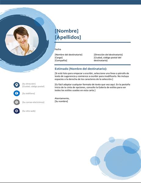 Carta de presentación con esferas azules