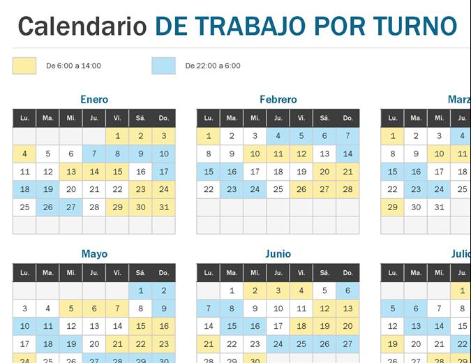Vistazo del calendario del trabajo por turnos en el año