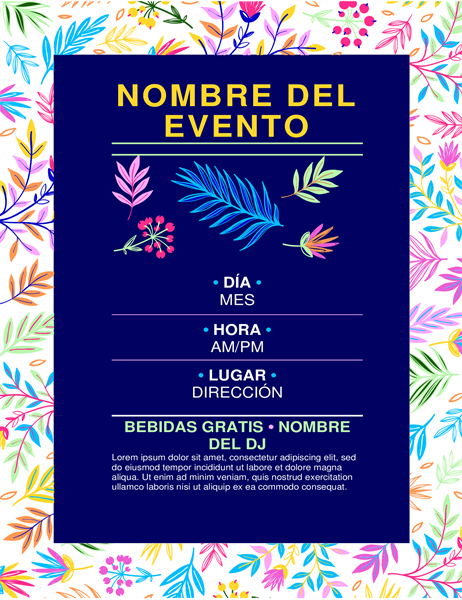 Folleto para eventos, diseño brillante de flores