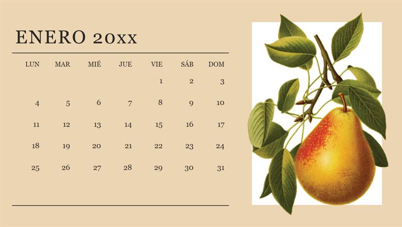 Calendario mensual botánico
