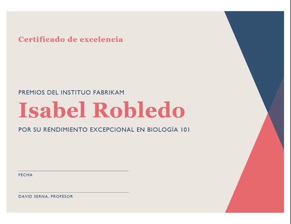 Certificado de aprovechamiento de secundaria
