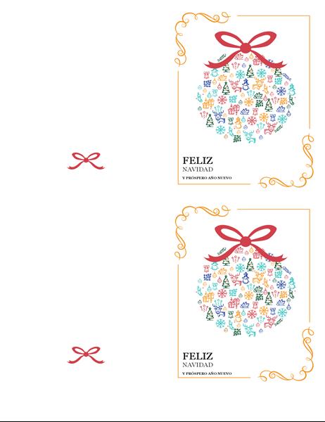 Tarjeta de vacaciones con adorno festivo