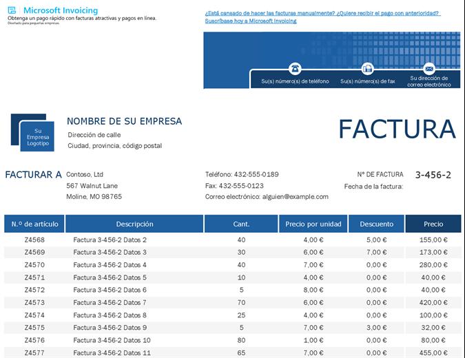 Seguimiento de factura de ventas con Microsoft Invoicing