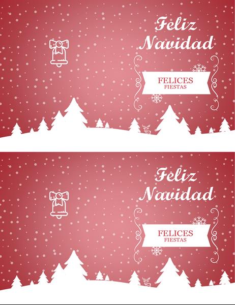 Tarjeta de Navidad con paisaje nevado