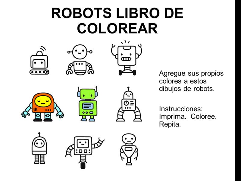 Libro para colorear robots