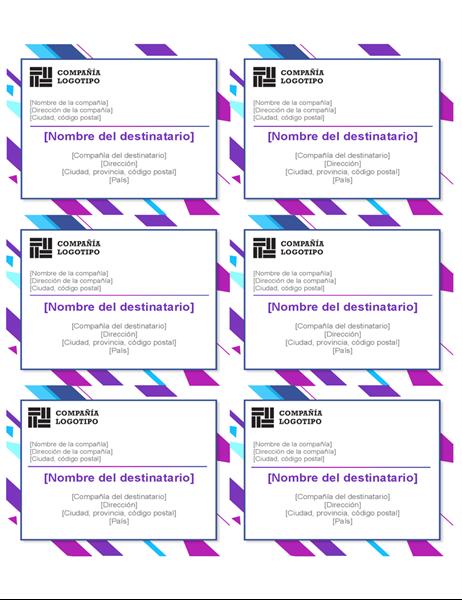 Etiquetas de gráfico de color púrpura (seis por página)