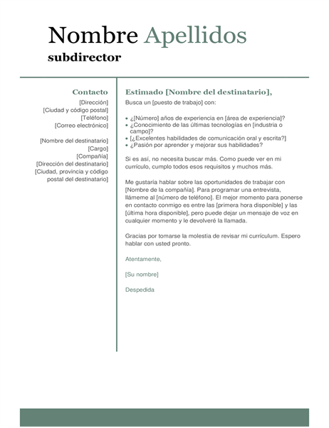 Carta de presentación básica y moderna