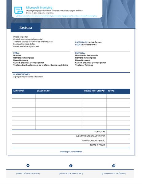 Factura estándar con Microsoft Invoicing
