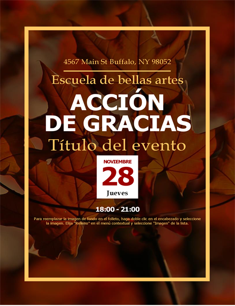 Folleto de Acción de Gracias con hojas de otoño