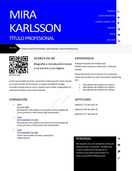 Currículum vítae moderno con código QR