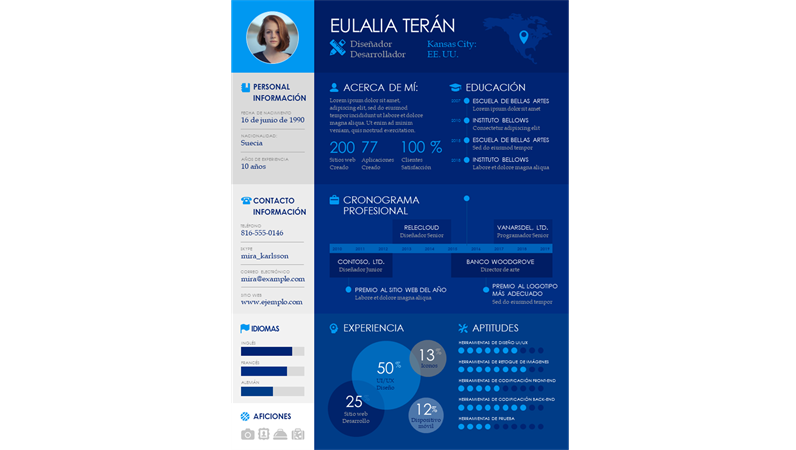 Currículum infográfico en forma de escala de tiempo