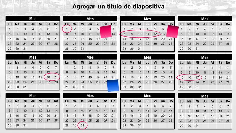 Calendario anual con notas rápidas