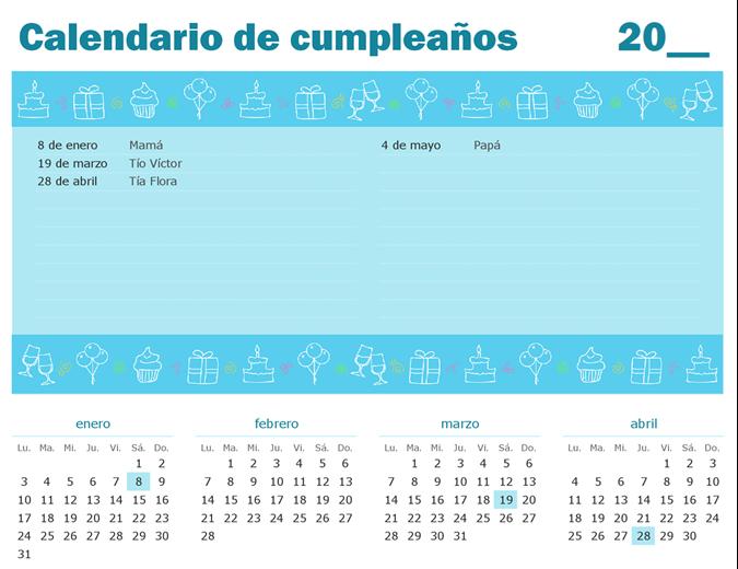 Calendario de cumpleaños con destacados