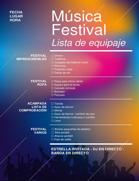 Lista de comprobación de equipaje para festival musical