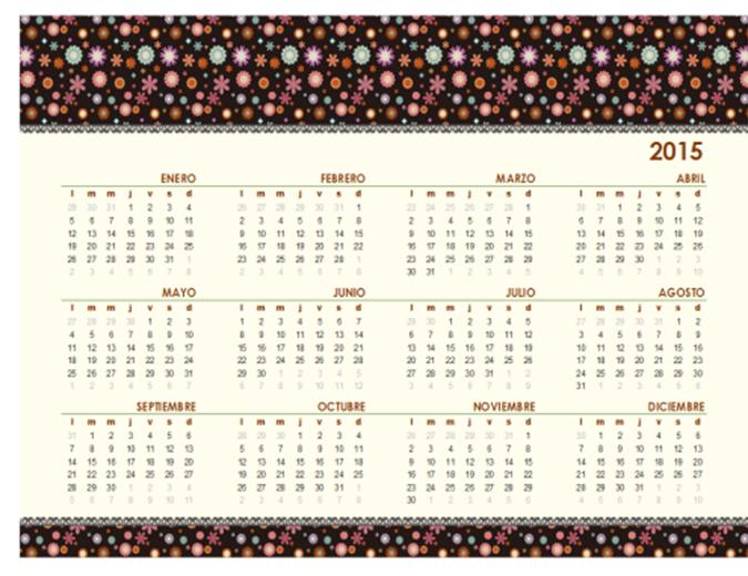 Calendario perpetuo (Lun - Dom): Diseño floral