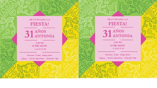 Tarjeta de invitación a fiesta (diseño elegante y colorido, 2 por página)
