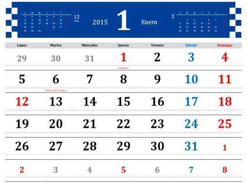 Calendario 2015 con días festivos (Lun - Dom)