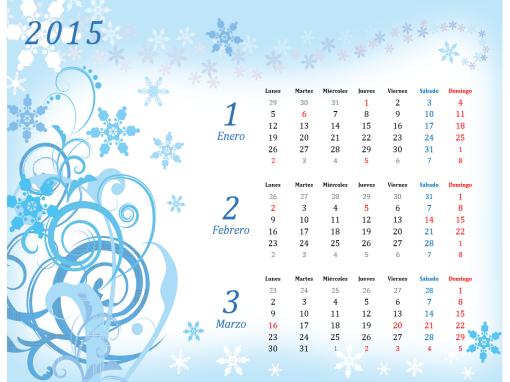 Calendario 2015 trimestral (Lun - Dom): Diseño estacional