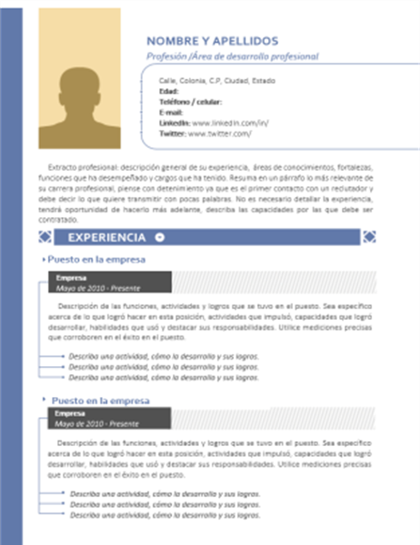 Currículum cronológico (diseño en azul y con fotografía)