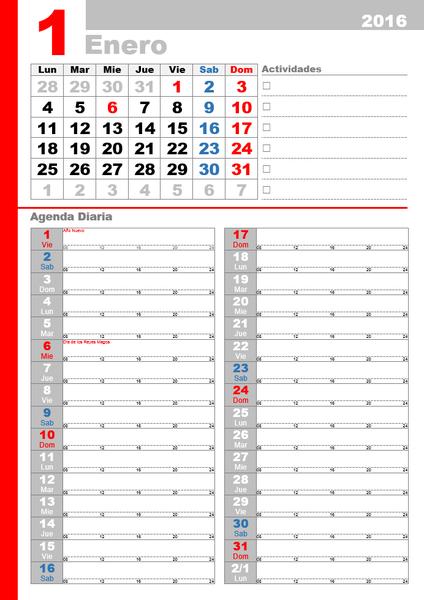Calendario 2016 con planeador y fechas oficiales (lun - dom)