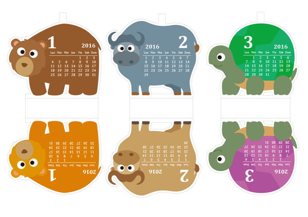 Calendario 2016 con diseño tierno de animales (lun - dom)