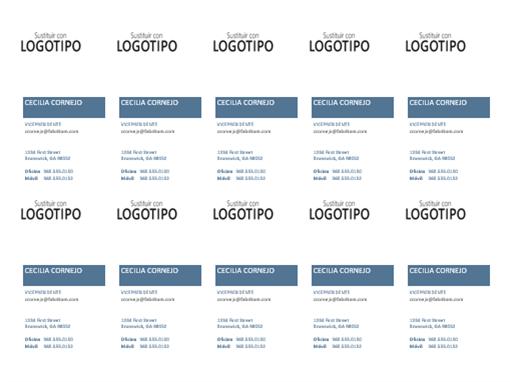 Tarjetas de presentación, diseño vertical con logotipo (10 por página)