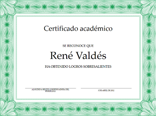 Certificado académico (borde verde formal)